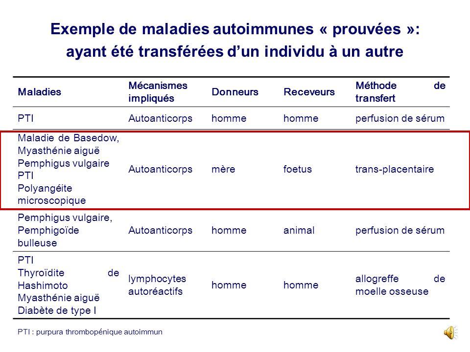 Exemple de maladies autoimmunes « prouvées »: ayant été transférées dun individu à un autre Maladies Mécanismes impliqués DonneursReceveurs Méthode de transfert PTIAutoanticorpshomme perfusion de sérum Maladie de Basedow, Myasthénie aiguë Pemphigus vulgaire PTI Polyangéite microscopique Autoanticorpsmèrefoetustrans-placentaire Pemphigus vulgaire, Pemphigoïde bulleuse Autoanticorpshommeanimalperfusion de sérum PTI Thyroïdite de Hashimoto Myasthénie aiguë Diabète de type I lymphocytes autoréactifs homme allogreffe de moelle osseuse PTI : purpura thrombopénique autoimmun
