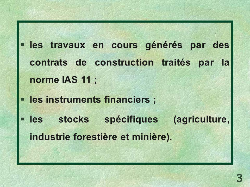 les travaux en cours générés par des contrats de construction traités par la norme IAS 11 ; les instruments financiers ; les stocks spécifiques (agric