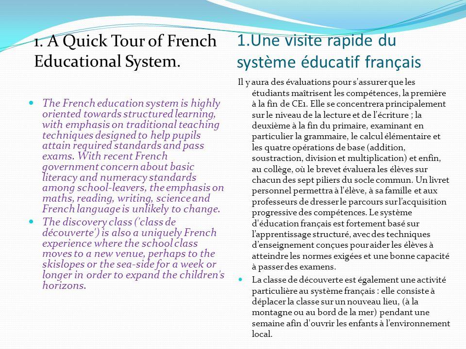 1.Une visite rapide du système éducatif français When falling behind: Inevitably it happens that some children are falling behind.