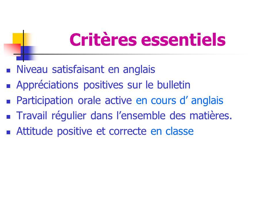 Critères essentiels Niveau satisfaisant en anglais Appréciations positives sur le bulletin Participation orale active en cours d anglais Travail régulier dans lensemble des matières.