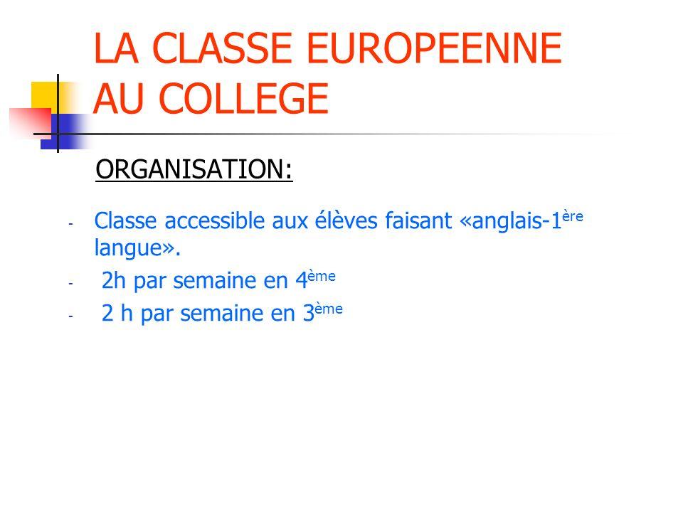 LA CLASSE EUROPEENNE AU COLLEGE - 2 ou 3 groupes répartis dans deux ou trois classes de 4 ème / 3 ème - Pas dobligation de continuer au Lycée