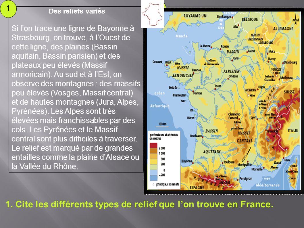 1.Cite les différents types de relief que lon trouve en France.