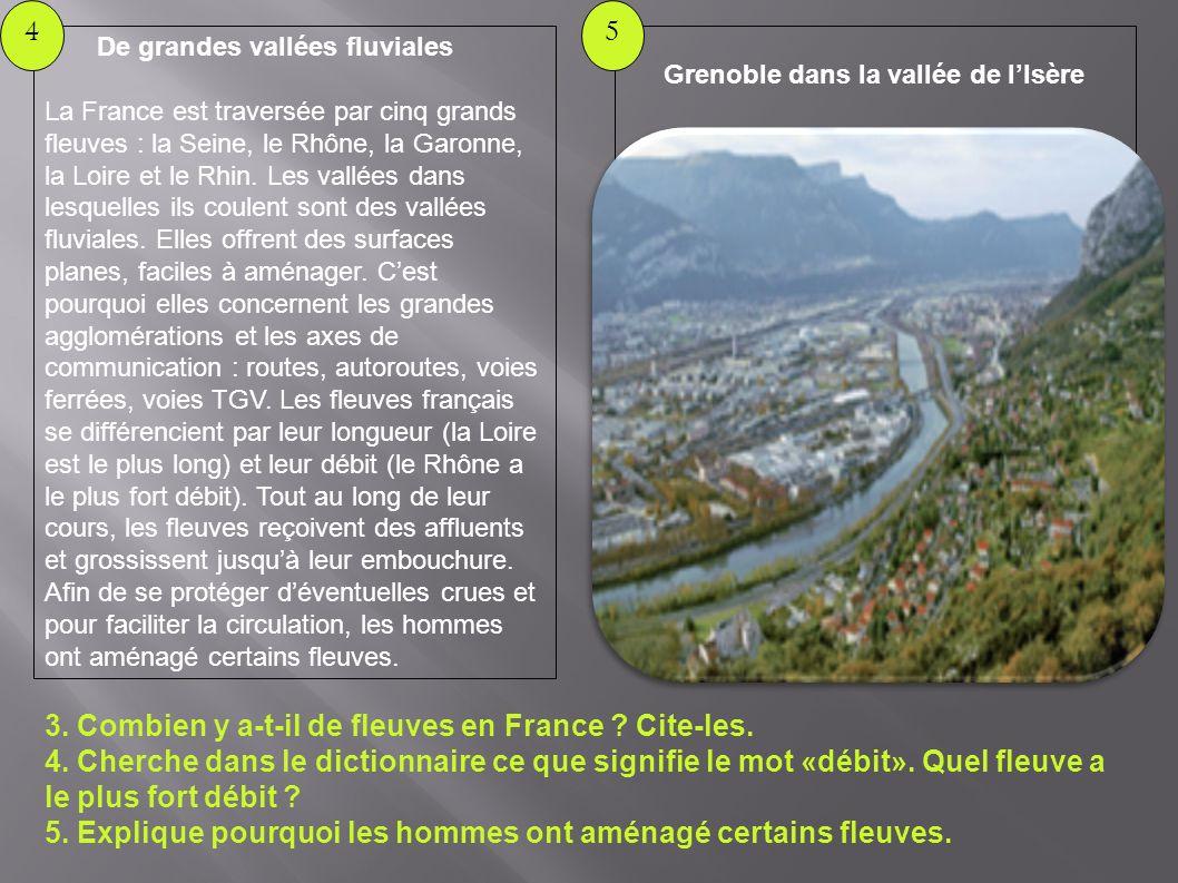 Grenoble dans la vallée de lIsère 5 De grandes vallées fluviales La France est traversée par cinq grands fleuves : la Seine, le Rhône, la Garonne, la Loire et le Rhin.