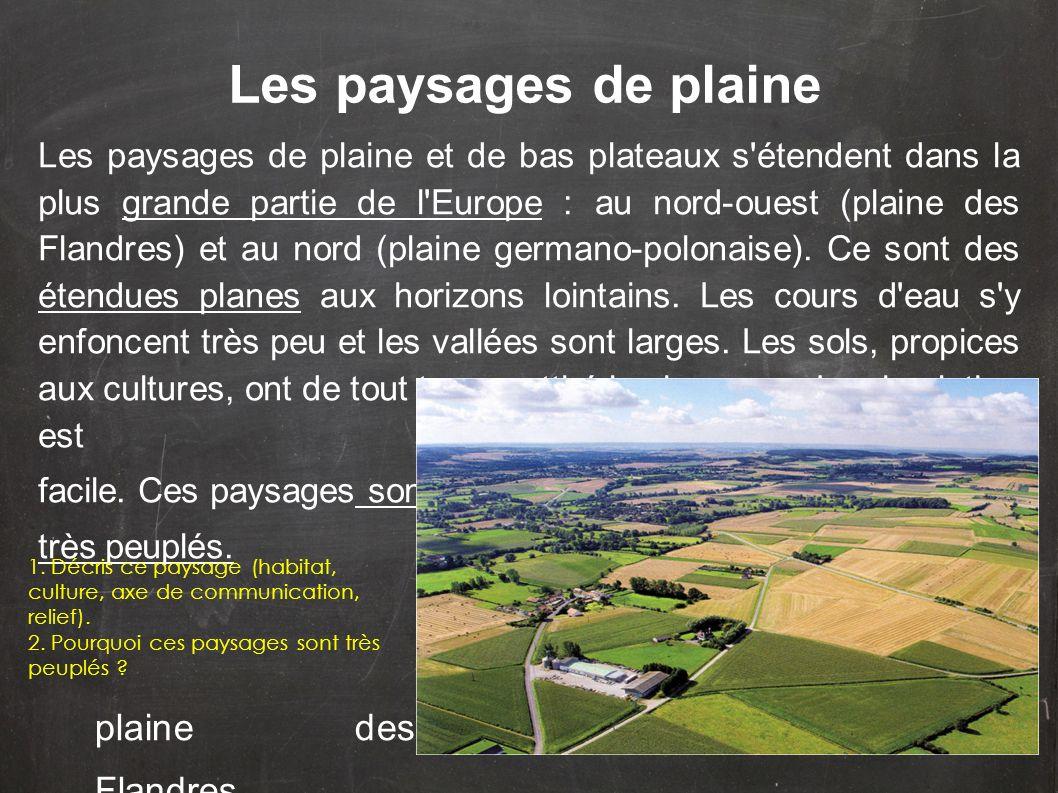 Les paysages de plaine et de bas plateaux s'étendent dans la plus grande partie de l'Europe : au nord-ouest (plaine des Flandres) et au nord (plaine g
