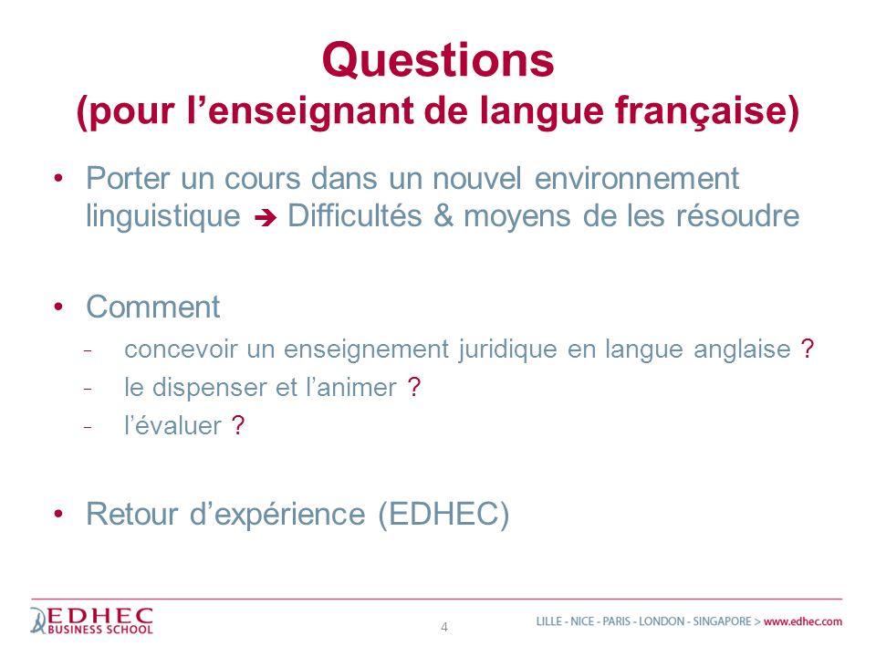 Questions (pour lenseignant de langue française) Porter un cours dans un nouvel environnement linguistique Difficultés & moyens de les résoudre Commen