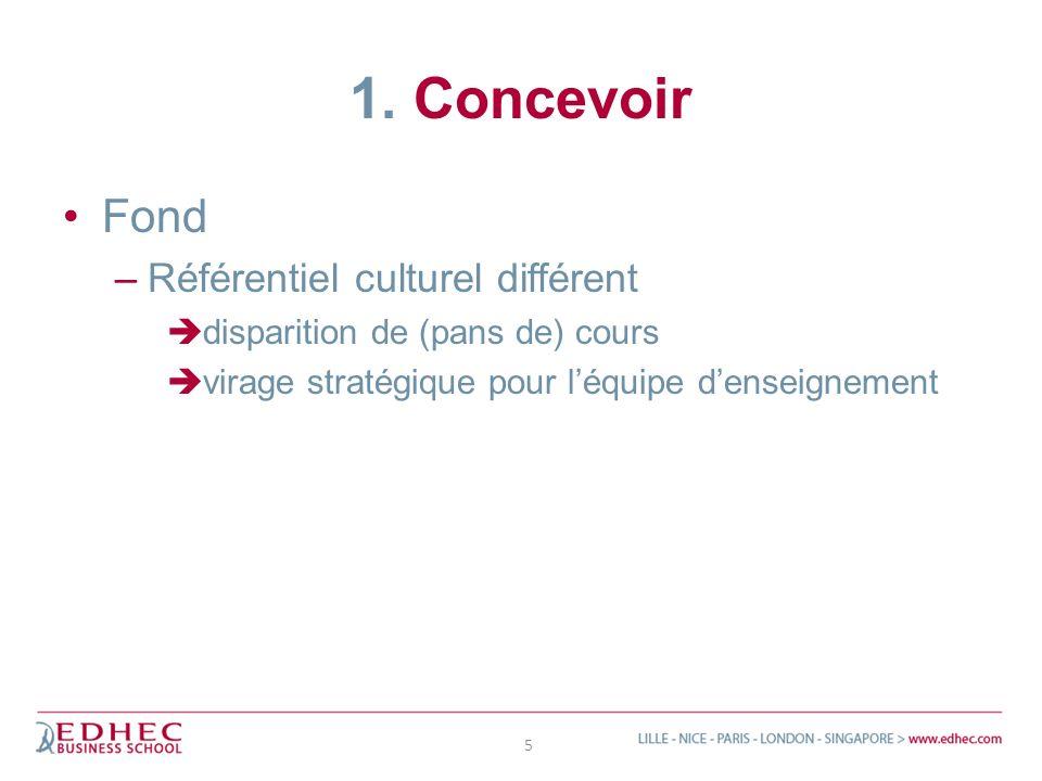 1. Concevoir Fond –Référentiel culturel différent disparition de (pans de) cours virage stratégique pour léquipe denseignement 5