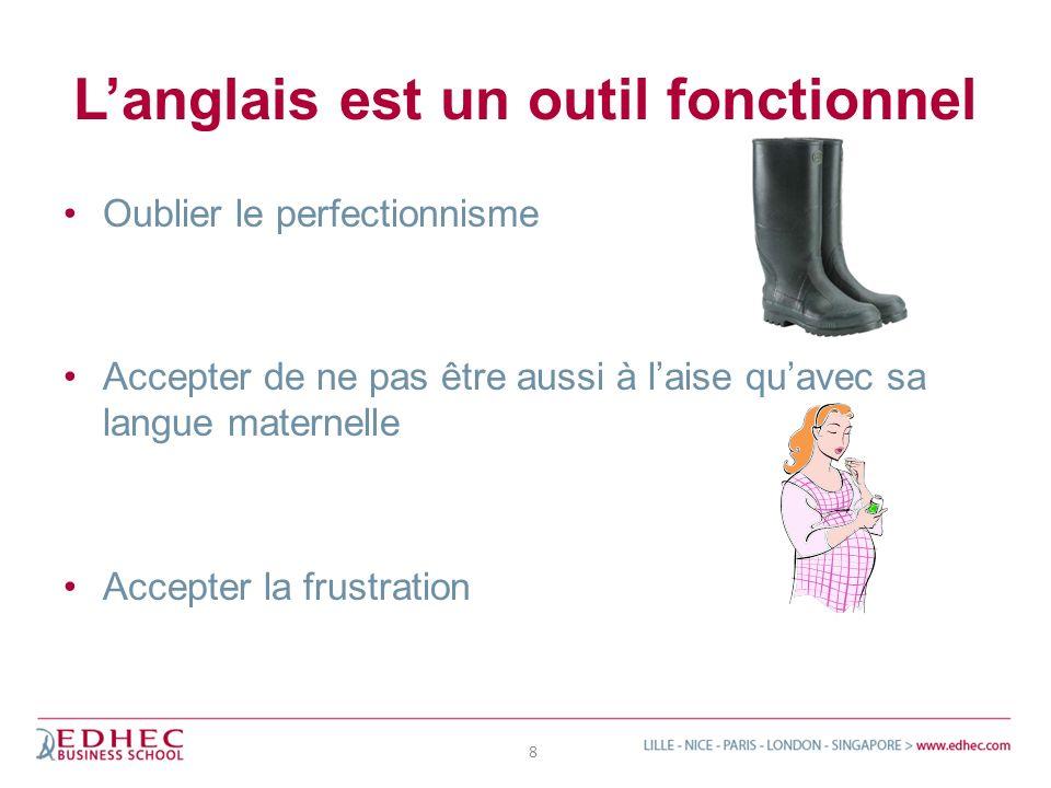 Langlais est un outil fonctionnel Oublier le perfectionnisme Accepter de ne pas être aussi à laise quavec sa langue maternelle Accepter la frustration