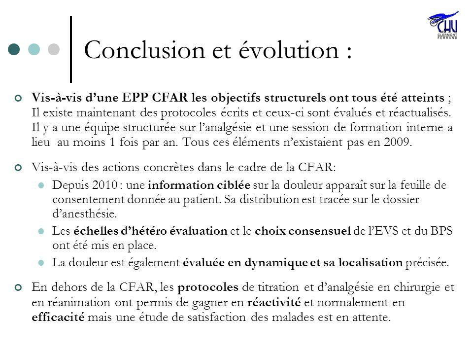 Conclusion et évolution : Vis-à-vis dune EPP CFAR les objectifs structurels ont tous été atteints ; Il existe maintenant des protocoles écrits et ceux