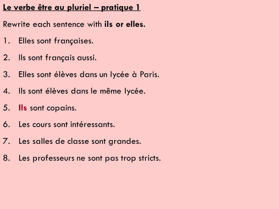 Le verbe être au pluriel – pratique 1 Rewrite each sentence with ils or elles.
