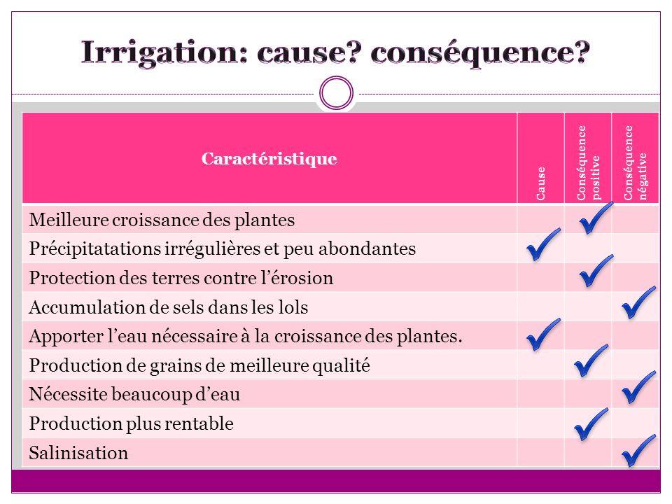 Caractéristique Cause Conséquence positive Conséquence négative Meilleure croissance des plantes Précipitatations irrégulières et peu abondantes Prote
