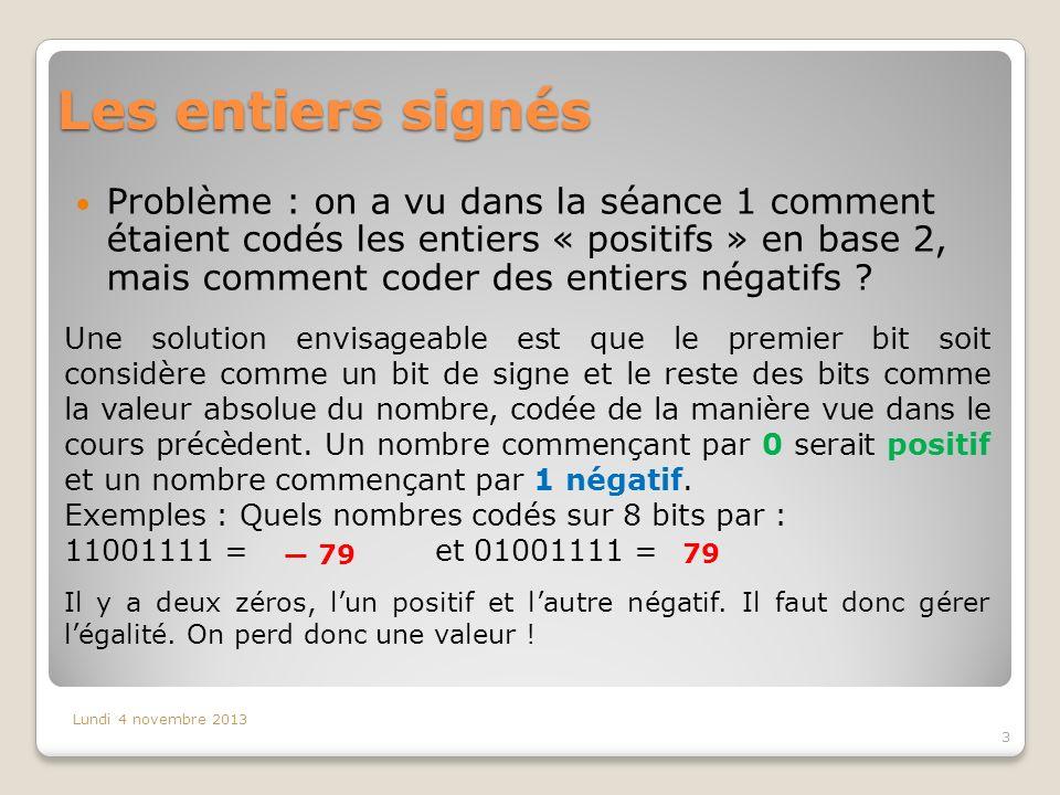 Les entiers signés Problème : on a vu dans la séance 1 comment étaient codés les entiers « positifs » en base 2, mais comment coder des entiers négati
