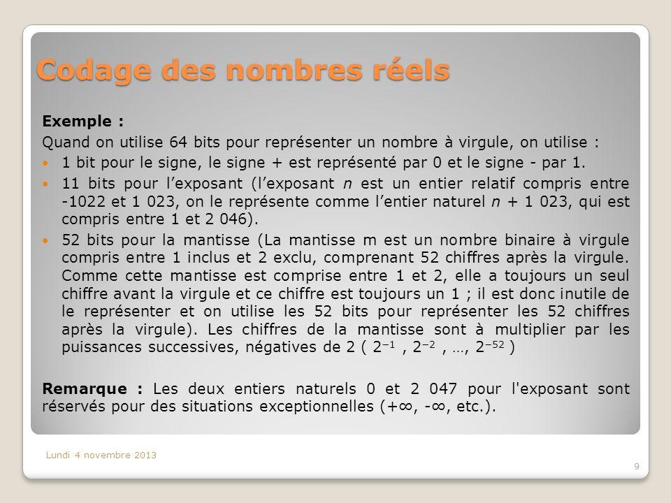 Codage des nombres réels Exemple : Quand on utilise 64 bits pour représenter un nombre à virgule, on utilise : 1 bit pour le signe, le signe + est rep