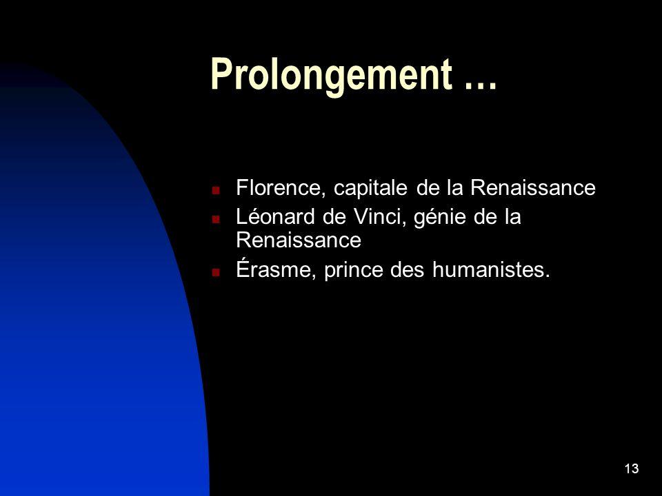 13 Prolongement … Florence, capitale de la Renaissance Léonard de Vinci, génie de la Renaissance Érasme, prince des humanistes.
