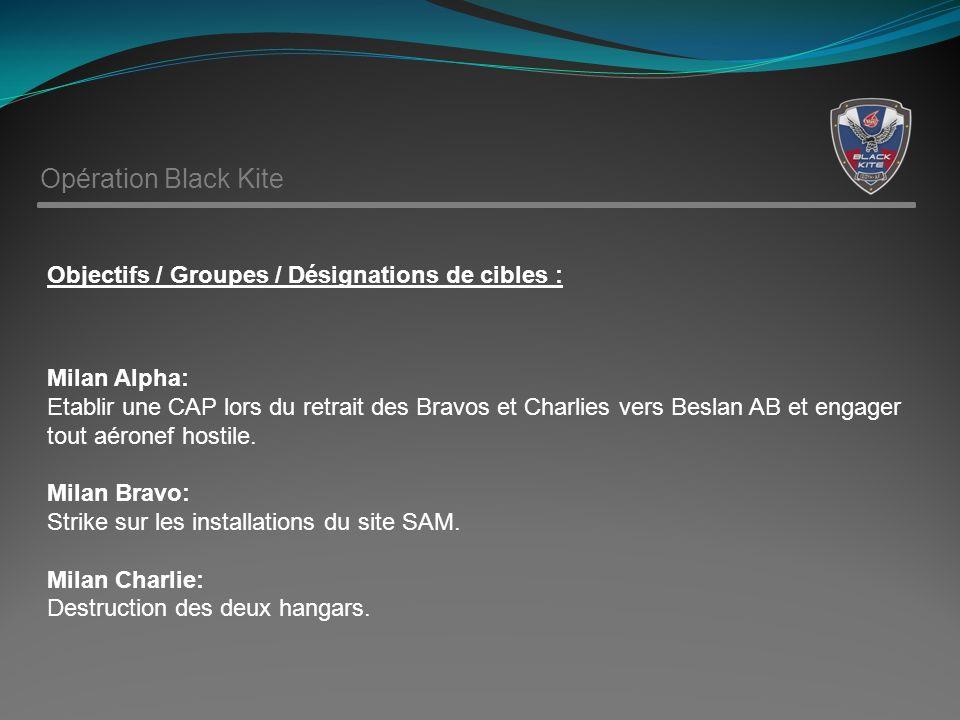 Opération Black Kite Objectifs / Groupes / Désignations de cibles : Milan Alpha: Etablir une CAP lors du retrait des Bravos et Charlies vers Beslan AB et engager tout aéronef hostile.