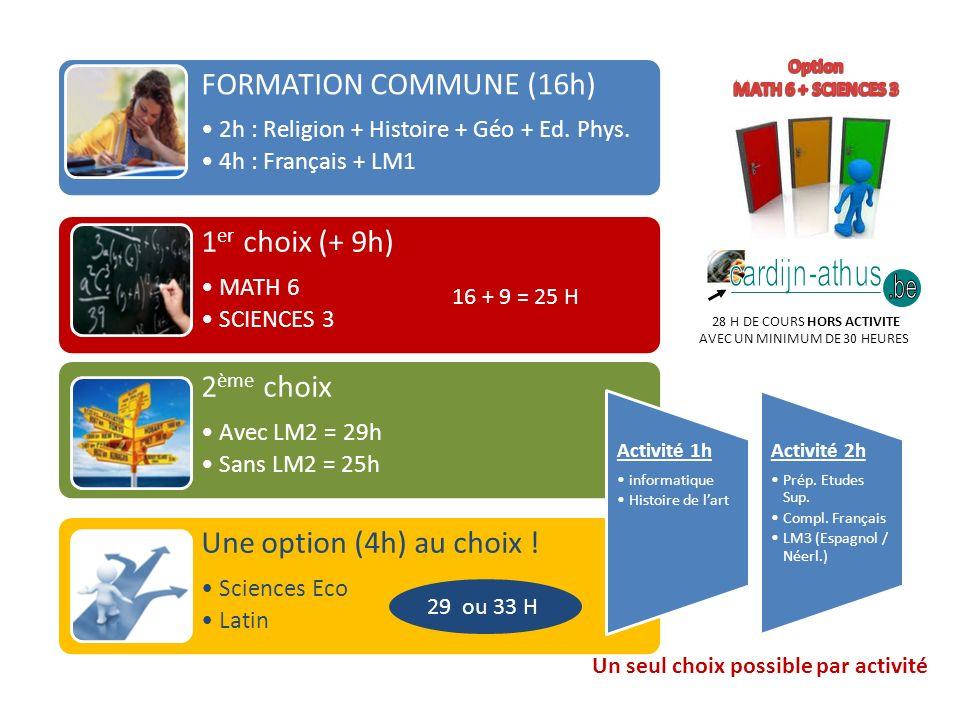 28 H DE COURS HORS ACTIVITE AVEC UN MINIMUM DE 30 HEURES FORMATION COMMUNE (16h) 2h : Religion + Histoire + Géo + Ed.