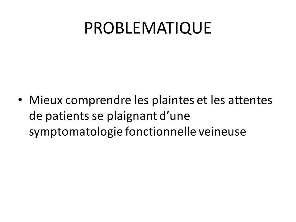 PROBLEMATIQUE Mieux comprendre les plaintes et les attentes de patients se plaignant dune symptomatologie fonctionnelle veineuse