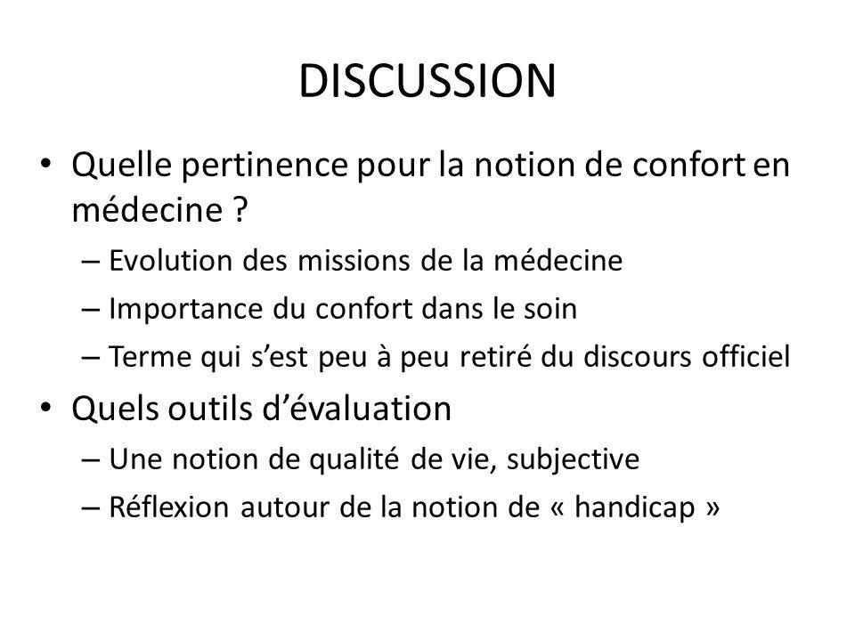 DISCUSSION Quelle pertinence pour la notion de confort en médecine ? – Evolution des missions de la médecine – Importance du confort dans le soin – Te