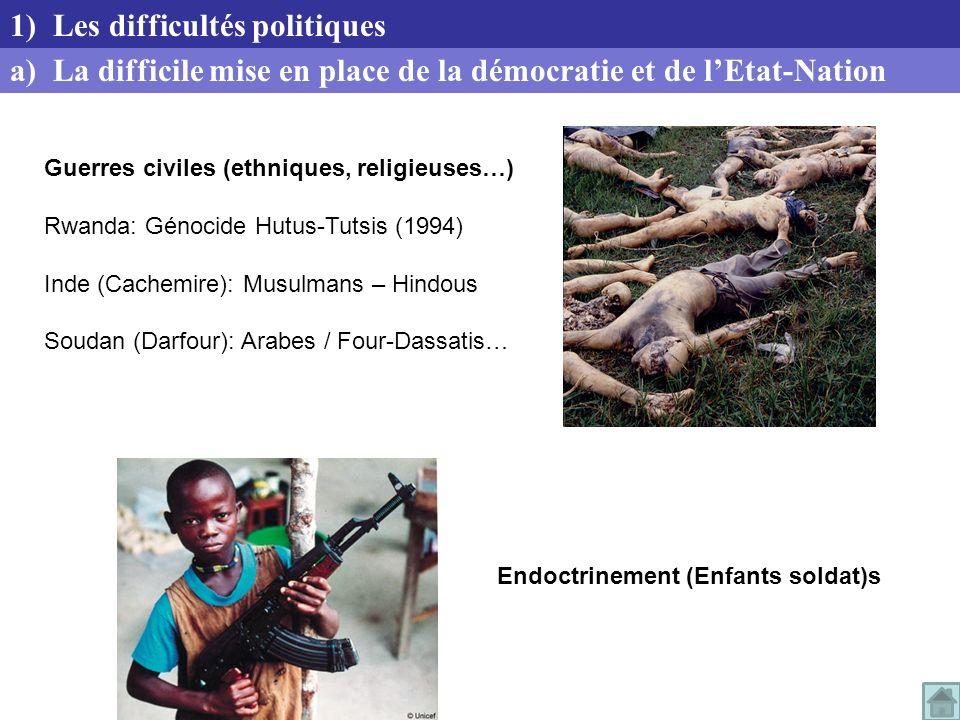 Endoctrinement (Enfants soldat)s a) La difficile mise en place de la démocratie et de lEtat-Nation 1) Les difficultés politiques Guerres civiles (ethn