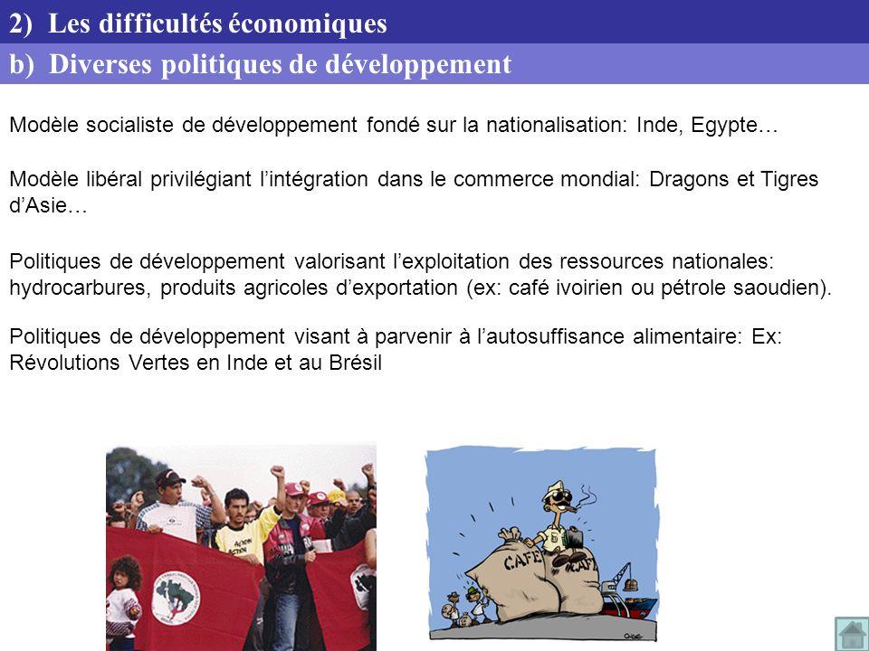 Modèle socialiste de développement fondé sur la nationalisation: Inde, Egypte… Modèle libéral privilégiant lintégration dans le commerce mondial: Drag