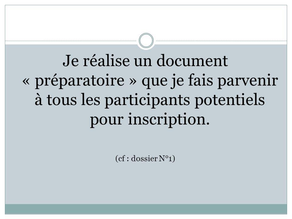 Je réalise un document « préparatoire » que je fais parvenir à tous les participants potentiels pour inscription.