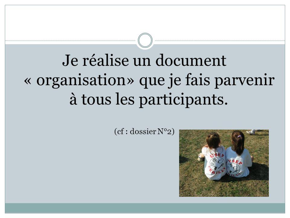 Je réalise un document « organisation» que je fais parvenir à tous les participants.