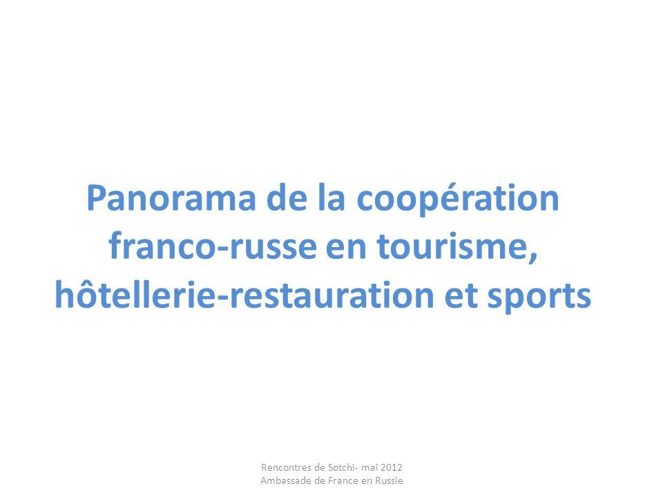 Panorama de la coopération franco-russe en tourisme, hôtellerie-restauration et sports Rencontres de Sotchi- mai 2012 Ambassade de France en Russie