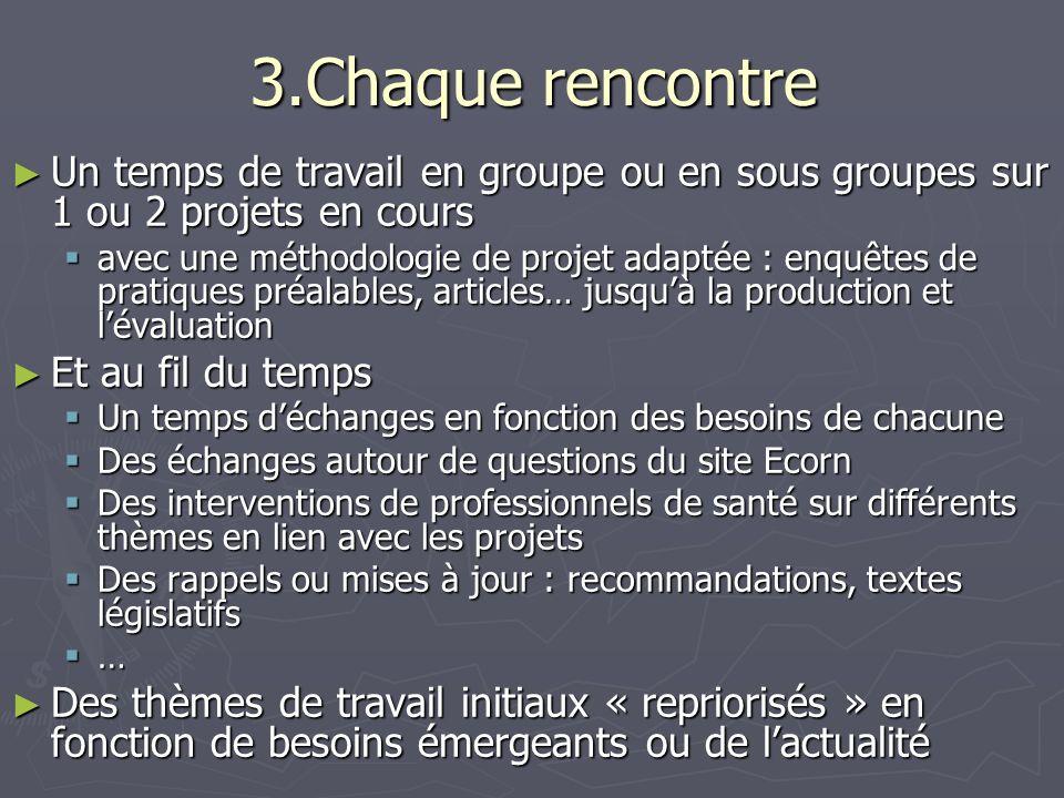 3.Chaque rencontre Un temps de travail en groupe ou en sous groupes sur 1 ou 2 projets en cours Un temps de travail en groupe ou en sous groupes sur 1
