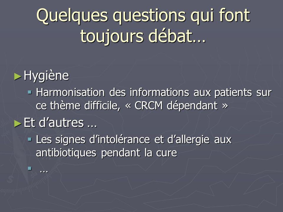 Quelques questions qui font toujours débat… Hygiène Hygiène Harmonisation des informations aux patients sur ce thème difficile, « CRCM dépendant » Har