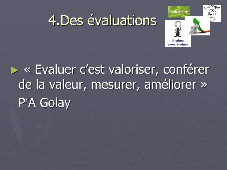 4.Des évaluations « Evaluer cest valoriser, conférer de la valeur, mesurer, améliorer » « Evaluer cest valoriser, conférer de la valeur, mesurer, amél