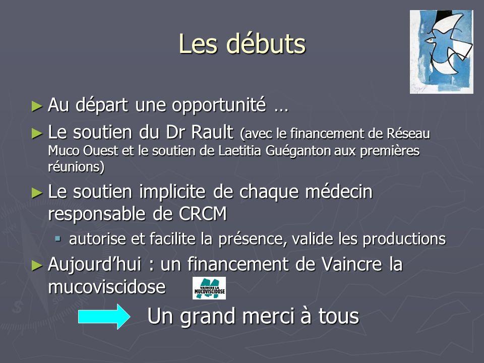 Les débuts Au départ une opportunité … Au départ une opportunité … Le soutien du Dr Rault (avec le financement de Réseau Muco Ouest et le soutien de L