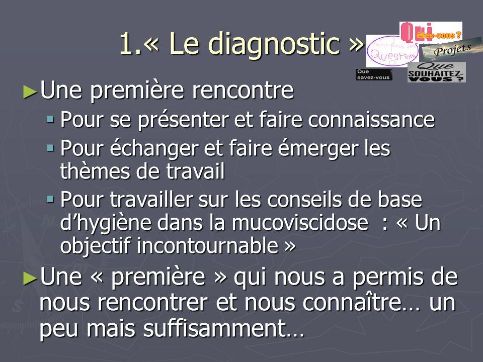 1.« Le diagnostic » Une première rencontre Une première rencontre Pour se présenter et faire connaissance Pour se présenter et faire connaissance Pour