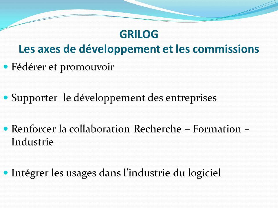 GRILOG Les axes de développement et les commissions Fédérer et promouvoir Supporter le développement des entreprises Renforcer la collaboration Recherche – Formation – Industrie Intégrer les usages dans lindustrie du logiciel