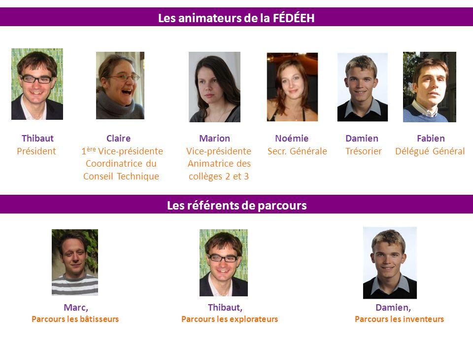 Les référents de parcours Les animateurs de la FÉDÉEH Thibaut Claire Marion Noémie Damien Fabien Président 1 ère Vice-présidente Vice-présidente Secr.