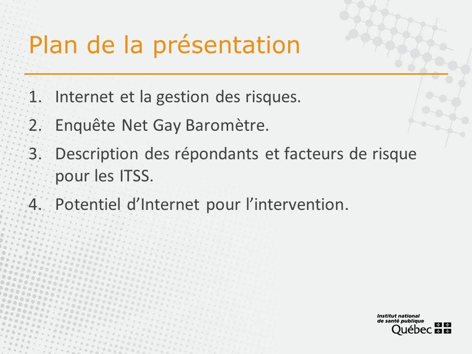 Plan de la présentation 1.Internet et la gestion des risques.
