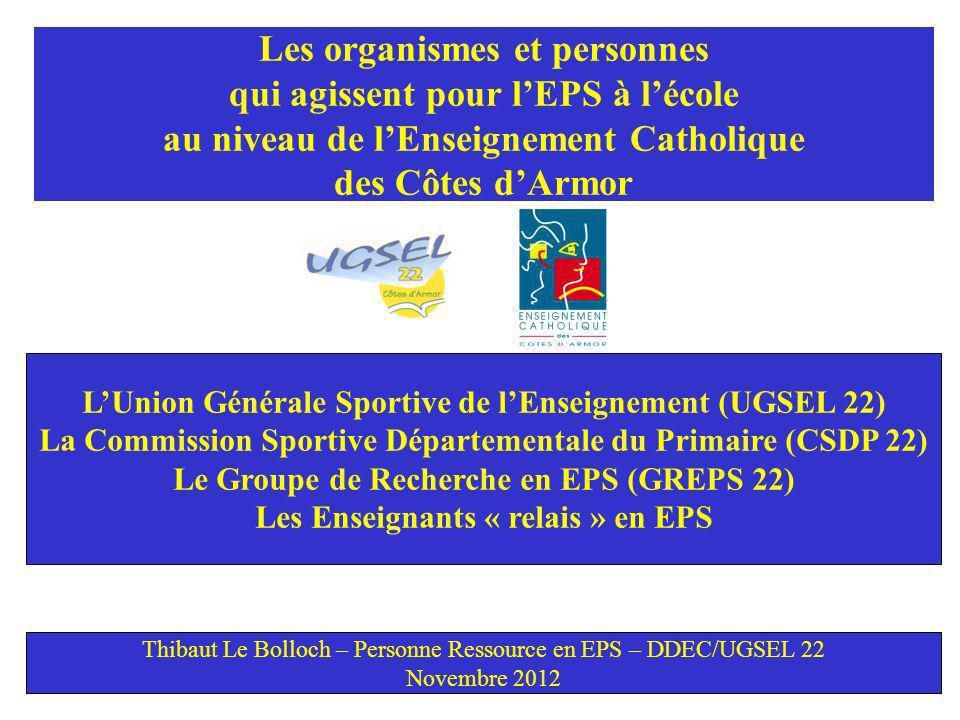 Les organismes et personnes qui agissent pour lEPS à lécole au niveau de lEnseignement Catholique des Côtes dArmor LUnion Générale Sportive de lEnseignement (UGSEL 22) La Commission Sportive Départementale du Primaire (CSDP 22) Le Groupe de Recherche en EPS (GREPS 22) Les Enseignants « relais » en EPS Thibaut Le Bolloch – Personne Ressource en EPS – DDEC/UGSEL 22 Novembre 2012