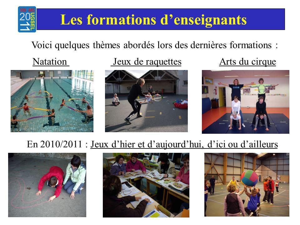 Jeux de raquettesNatation Les formations denseignants Arts du cirque En 2010/2011 : Jeux dhier et daujourdhui, dici ou dailleurs Voici quelques thèmes abordés lors des dernières formations :