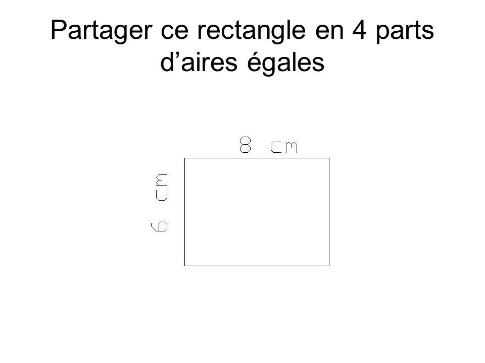 Partager ce rectangle en 4 parts daires égales