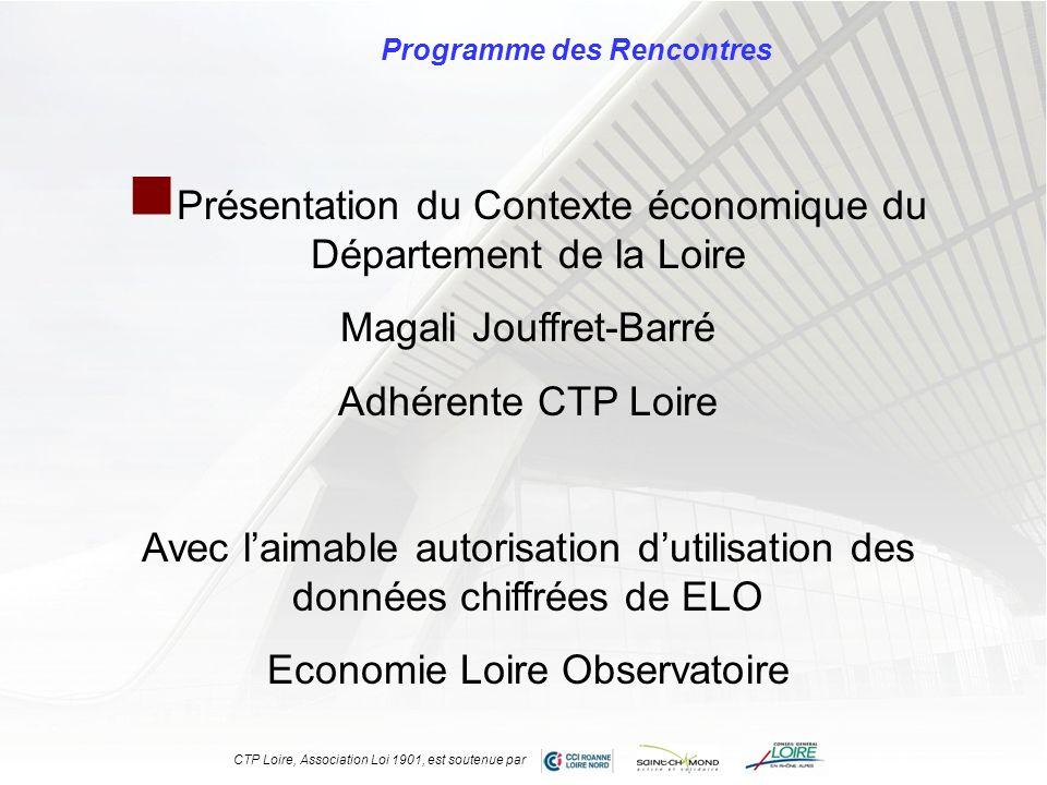 Programme des Rencontres Présentation du Contexte économique du Département de la Loire Magali Jouffret-Barré Adhérente CTP Loire Avec laimable autori