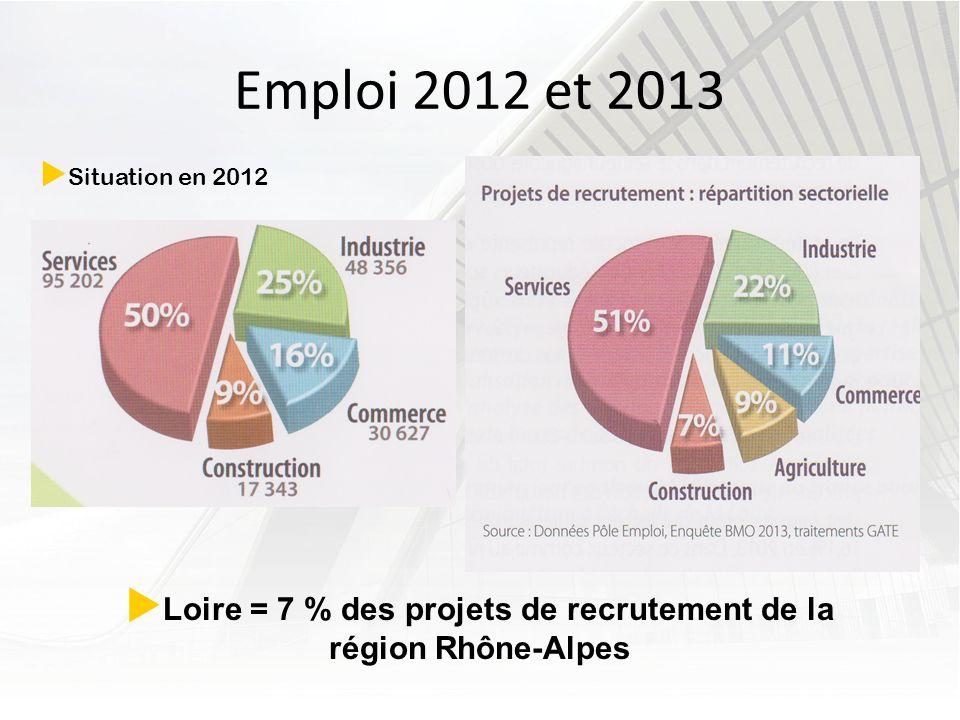 Emploi 2012 et 2013 Situation en 2012 Loire = 7 % des projets de recrutement de la région Rhône-Alpes