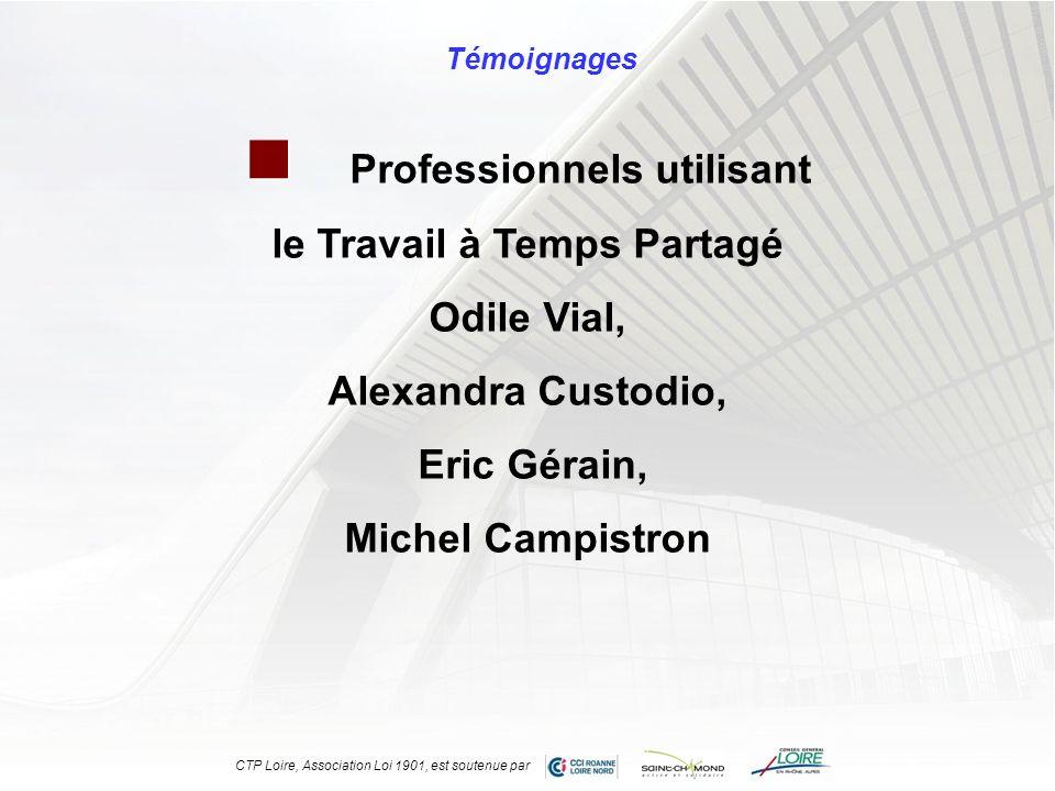 Professionnels utilisant le Travail à Temps Partagé Odile Vial, Alexandra Custodio, Eric Gérain, Michel Campistron Témoignages CTP Loire, Association