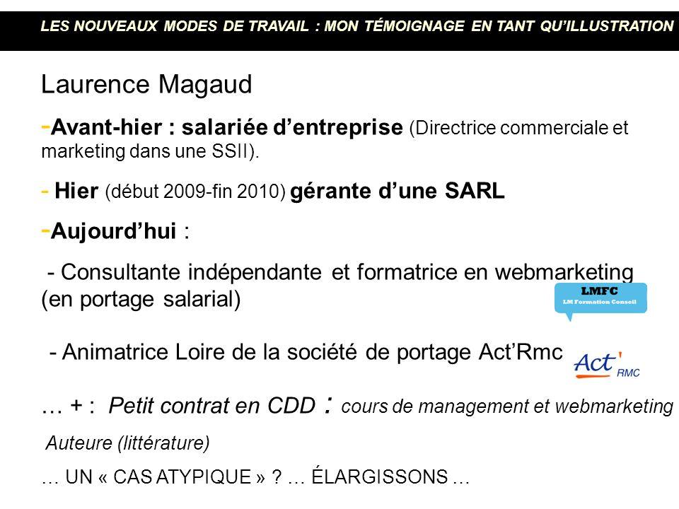 Laurence Magaud - Avant-hier : salariée dentreprise (Directrice commerciale et marketing dans une SSII). - Hier (début 2009-fin 2010) gérante dune SAR