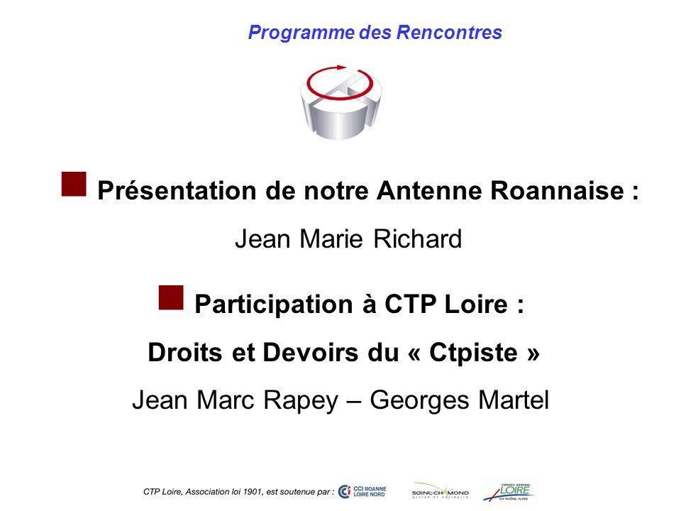 Programme des Rencontres Participation à CTP Loire : Droits et Devoirs du « Ctpiste » Jean Marc Rapey – Georges Martel Présentation de notre Antenne R