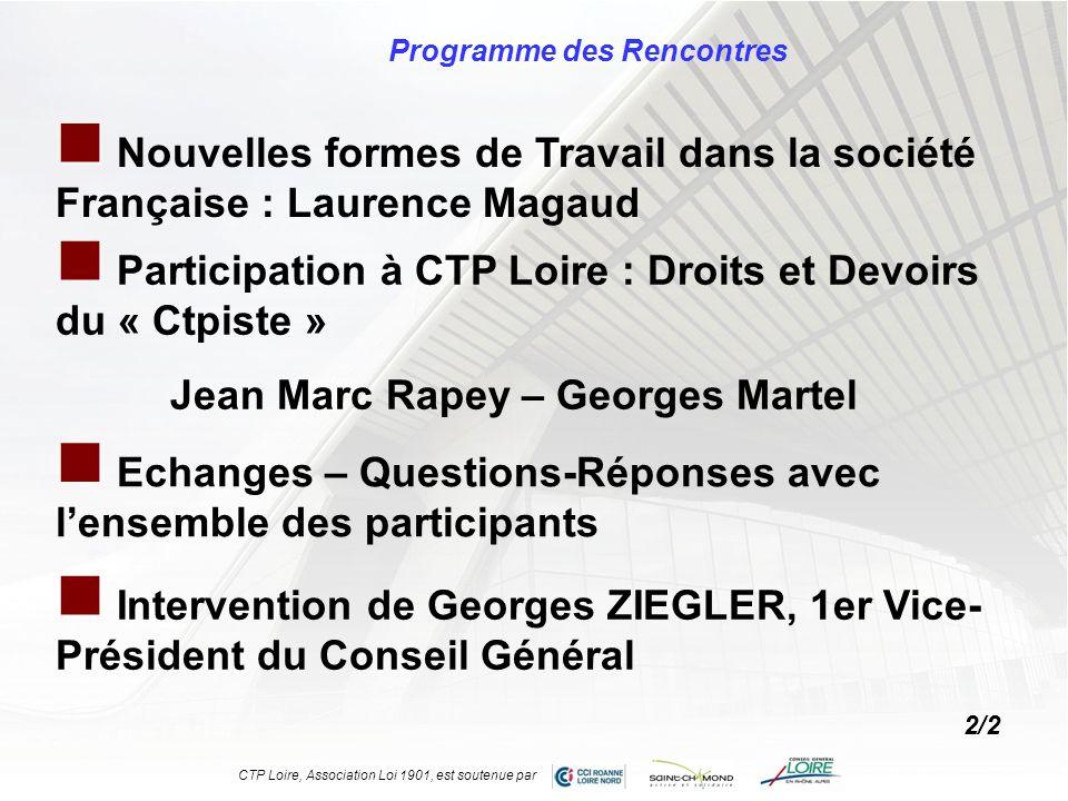 Programme des Rencontres Nouvelles formes de Travail dans la société Française : Laurence Magaud Participation à CTP Loire : Droits et Devoirs du « Ct