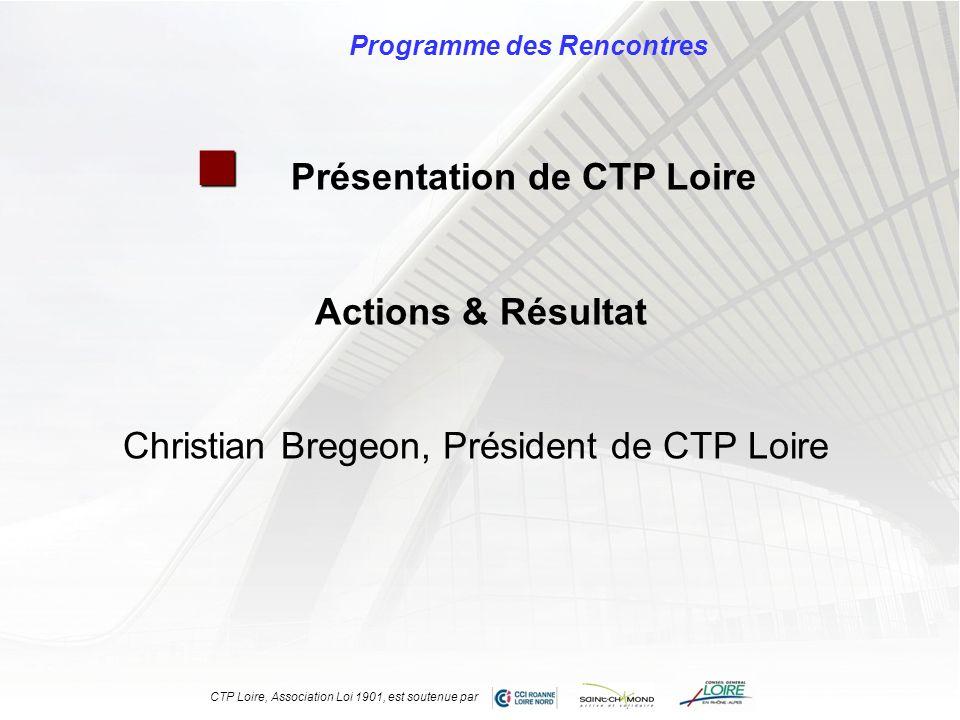 Programme des Rencontres Présentation de CTP Loire Actions & Résultat Christian Bregeon, Président de CTP Loire CTP Loire, Association Loi 1901, est s