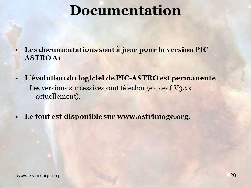 Rencontres du 28/29 Janvier 2006www.astrimage.org Documentation Les documentations sont à jour pour la version PIC- ASTRO A1. Lévolution du logiciel d
