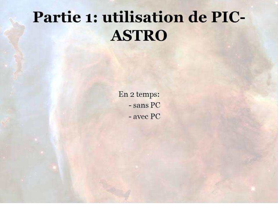 Rencontres du 28/29 Janvier 2006 Partie 1: utilisation de PIC- ASTRO En 2 temps: - sans PC - avec PC