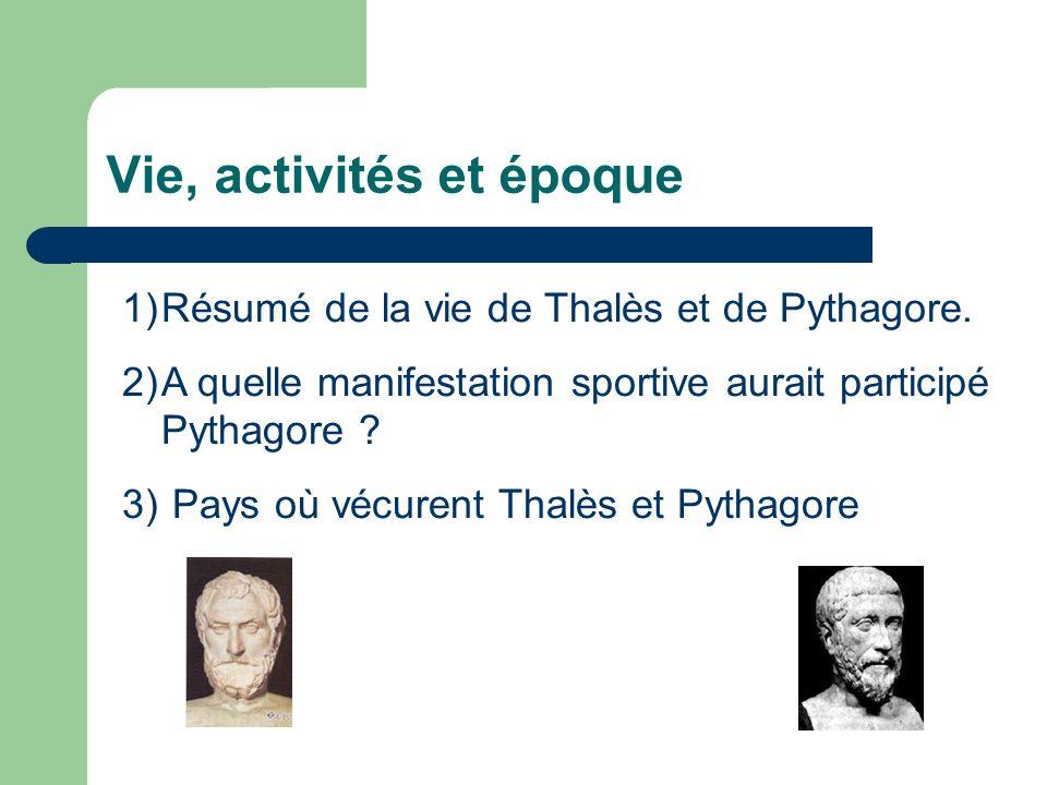 1) Résumé de la vie de Thalès (1) Thalès est le premier mathématicien dont l histoire ait retenu le nom.