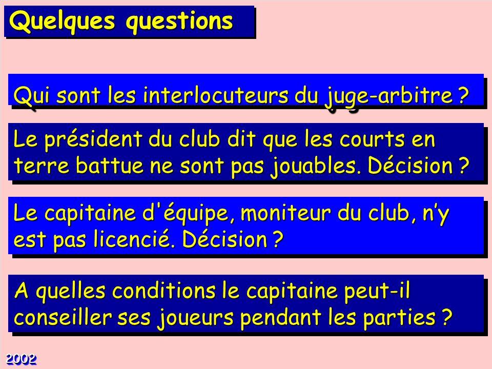 Qui sont les interlocuteurs du juge-arbitre ? 20022002 Le président du club dit que les courts en terre battue ne sont pas jouables. Décision ? Le cap