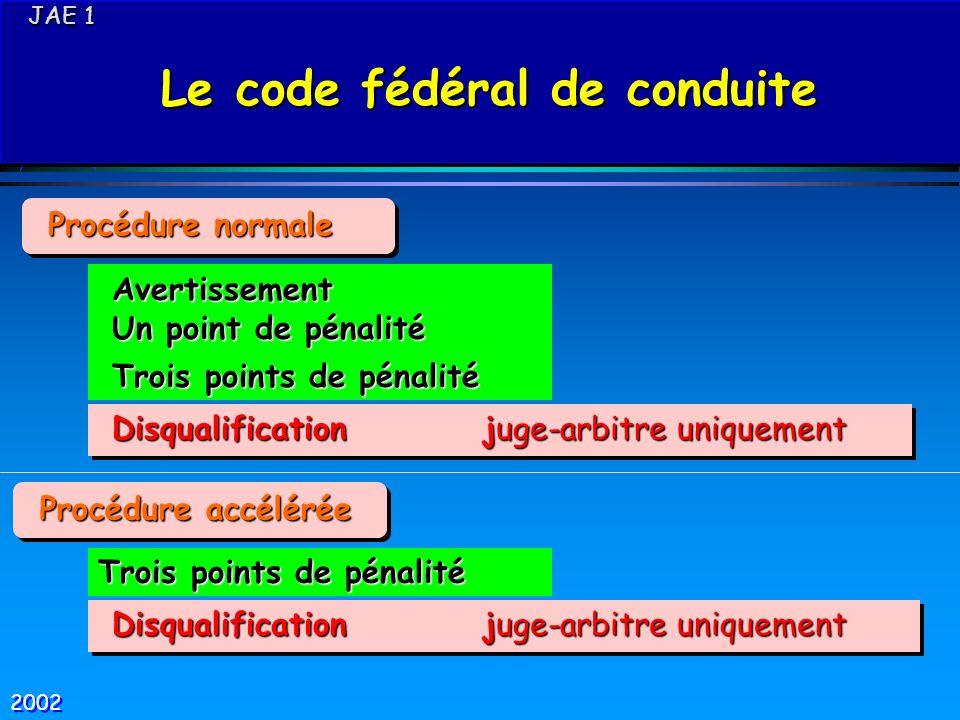 JAE 1 JAE 1 Le code fédéral de conduite Le code fédéral de conduite JAE 1 JAE 1 Le code fédéral de conduite Le code fédéral de conduite Disqualificati