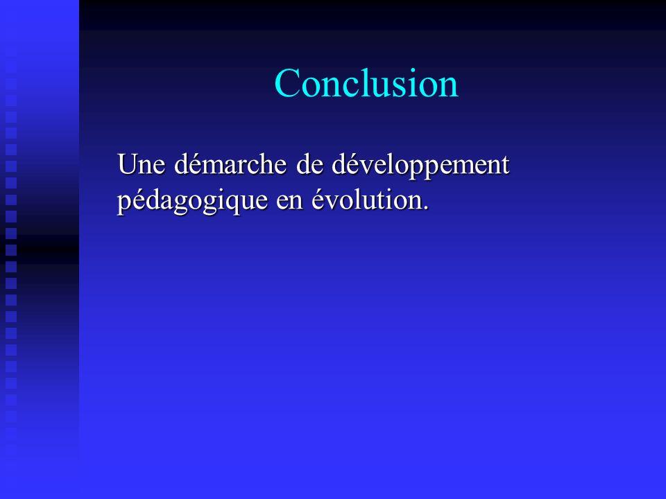 Conclusion Une démarche de développement pédagogique en évolution.